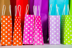 Row of shopping bags. Row of colorful shopping bags Stock Photos