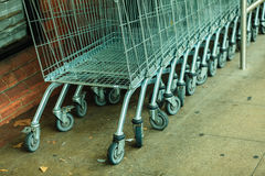 Row of shopping cart trolley outdoor Stock Photos
