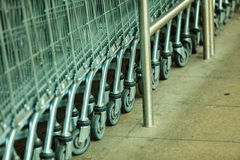 Row of shopping cart trolley outdoor Royalty Free Stock Image