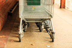 Row of shopping cart trolley outdoor Stock Image