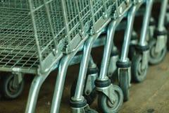 Row of shopping cart trolley outdoor Stock Photos