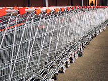 Row of shopping cart trolleys. Stock Images
