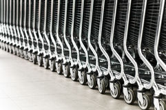 Row of shopping carts Royalty Free Stock Image