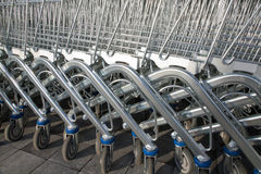 Row of shopping carts Royalty Free Stock Images