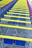 Row of shopping carts, detail Royalty Free Stock Image