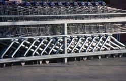 Row of shopping carts Royalty Free Stock Image
