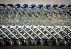 Row Of Shopping Trolleys Stock Images