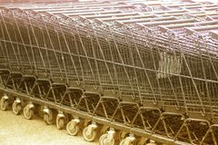 Row of shopping trolleys. Royalty Free Stock Photo