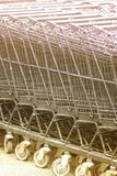 Row of shopping trolleys. Stock Images