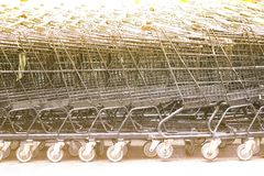 Row of shopping trolleys. Royalty Free Stock Images