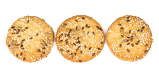 Row of shortbread cookies with sesame and sunflower seeds Royalty Free Stock Photo