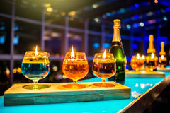Row of shots on the bar. stock images