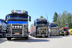 Row of Show Trucks at Riverside Truck Meeting Stock Photos