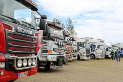 Row of Show Trucks at a Truck Meeting Royalty Free Stock Images