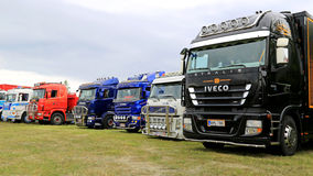 Row of Show Trucks at a Truck Meeting Royalty Free Stock Photography