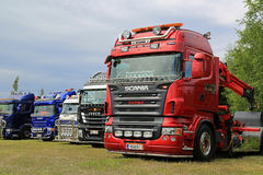 Row of Show Trucks at a Truck Meeting Stock Image