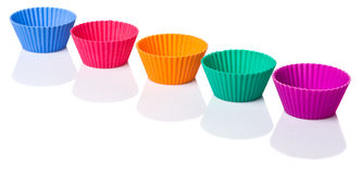 Row OF Silicone Cupcake Baking Cups IV Stock Photos
