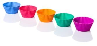 Row OF Silicone Cupcake Baking Cups IV Stock Photos