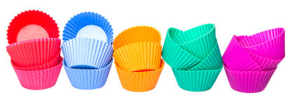 Row OF Silicone Cupcake Baking Cups VII Stock Images