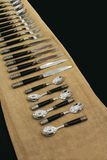 Row of silverware Royalty Free Stock Photos