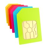 Row of SIM cards with circuit microchips isolated Stock Photo