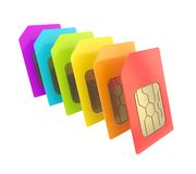 Row of SIM cards with circuit microchips isolated Royalty Free Stock Photography