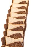 Row of sliced bread. White and black. Royalty Free Stock Image