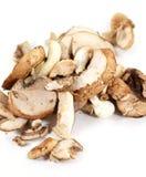 Row of sliced organic crimini or baby bella mushrooms Stock Image