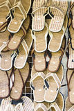 Row of slip-on shoes Royalty Free Stock Photo