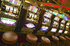 Row of slot machines in Las Vegas, NV Stock Image