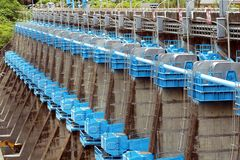 Row of Sluice Gates at a Reservoir Stock Images