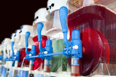 Row of slush machines. With handles Stock Photography