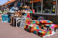 Row of small souvenir shops on the street Kerkstraat Royalty Free Stock Photo