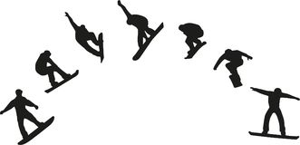 Row of snowboard silhouettes jumping. Vector Royalty Free Stock Image