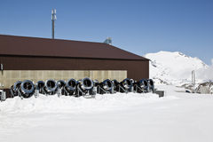 Row snowcannons, Molltaler Glacier, Austria Stock Photo