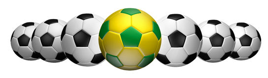 Row of soccer. Soccer football in the front row of the game. Easy selection with clipping path built-in Stock Images
