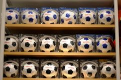 Row of Soccer ball Stock Photography