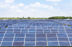 Row of solar cells alternative renewable energy from the sun Royalty Free Stock Image