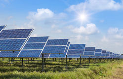 Row of solar cells alternative renewable energy from the sun Royalty Free Stock Photo