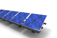 Row of Solar panels against a white background Royalty Free Stock Images