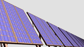 Row of solar panels, cartoon version for presentations and reports. Renewable solar energy generation. 4K seamless stock footage