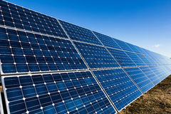 Row of solar panels and clear sky Royalty Free Stock Photos