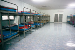 A row soldier bunk beds. Royalty Free Stock Photography