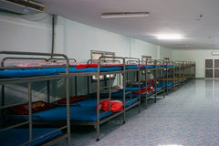 A row soldier bunk beds. Royalty Free Stock Photo