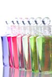 Row of spa bottles Royalty Free Stock Images