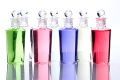 Row of spa bottles Stock Images