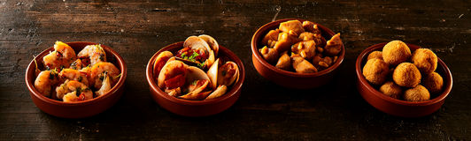 Row of Spanish Appetizers Royalty Free Stock Photo