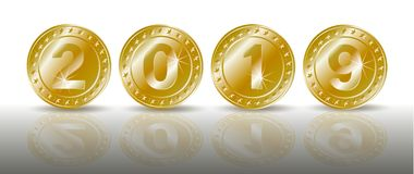 A row of symbolic sparkling gold coins with the numbers of the new year 2019 with shadaow and mirror reflection. Realistic vector. A row of sparkling gold royalty free illustration