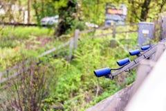 Row of Speed cameras monitoring traffic on UK Motorway.  royalty free stock images