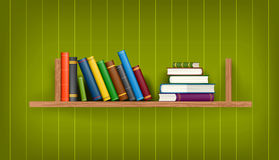 Row and stack of colorful books. On shelf, vector illustration background Stock Photo